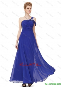 Beautiful Cheap Lovely Beaded One Shoulder Prom Dresses in Blue
