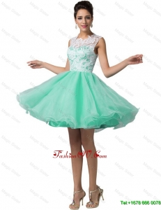 2016 Elegant Beautiful Fashionable Laced Scoop A Line Prom Dresses in Apple Green