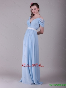 2016 Exclusive New Arrivals Spaghetti Straps Light Blue Prom Dresses with Ruching and Belt