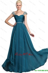 2016 Gorgeous Beaded Teal Cap Sleeves Prom Dresses with Straps