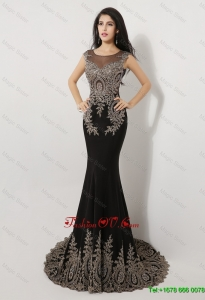 2016 Gorgeous Exquisite Latest Mermaid Appliques and Beaded Prom Dresses in Black