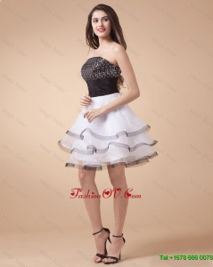 Beautiful Sequined White and Black Prom Dresses with Mini Length