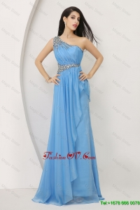 Discount Exquisite Latest Beaded Baby Blue Prom Dresses with One Shoulder