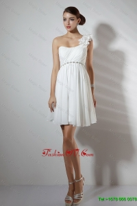 Elegant Empire One Shoulder Short Prom Dresses in White