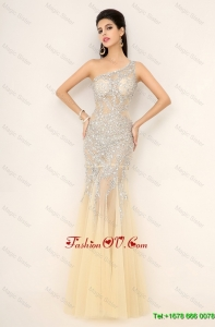 Elegant Exquisite Latest Champagne One Shoulder Prom Dresses with Side Zipper