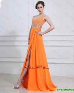 Exquisite Beading and High Slit Orange Prom Dresses with Brush Train