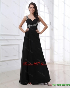 Fashionable Empire Straps Beading Prom Dresses in Black for 2016