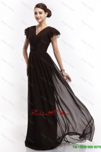 Hot Sale New Arrivals V Neck Ruching Empire Brush Train Prom Dresses in Black