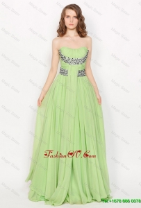 Hot Sale Strapless Brush Train Prom Dresses in Apple Green