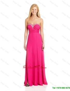 Pretty Empire Sweetheart Prom Dresses with Brush Train in Hot Pink