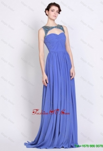 Pretty Exquisite Latest Bateau Zipper Up Blue Prom Dresses with Brush Train