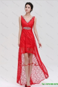2015 Pretty V Neck Laced and Beaded Red Prom Dresses with High Low