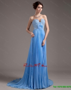 2016 Discount Brush Train Sweetheart Prom Dresses in Baby Blue