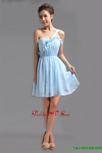 2016 Exquisite Latest Perfect One Shoulder Ruching Short Prom Gowns for Holiday