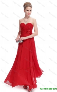 2016 Gorgeous Sweetheart Ruched Red Prom Dresses with Appliques