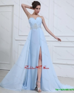 Customize Sweetheart Appliques and Beading Prom Dresses in Light Blue