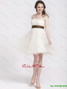 Elegant Strapless Tulle Sashes Prom Gowns in Champagne