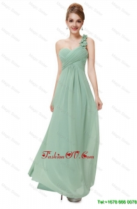 Elegant Vintage Classical One Shoulder Prom Dresses with Hand Made Flowers