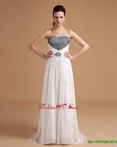 New Arrival Sweep Train Beading Prom Dresses in White
