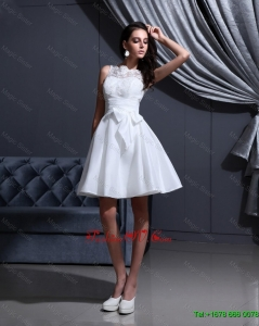 New Style White A Line Prom Gowns with Lace and Bowknot