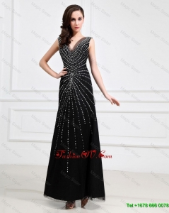Popular Empire V Neck Beaded Backless Prom Dresses in Black