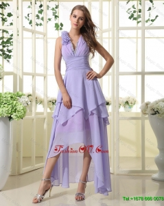 Pretty Empire V Neck Prom Dresses with High Low in Lavender