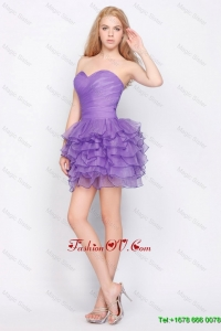 Pretty Sweetheart Lavender Short Prom Dresses with Ruffled Layers