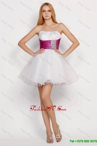 Pretty White Princess Short Prom Dresses with Beading and Belt