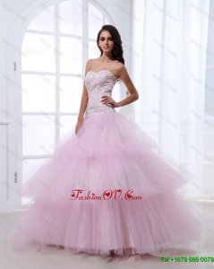 Wonderful Sweetheart Baby Pink Prom Dresses with Sequins and Ruffled Layers