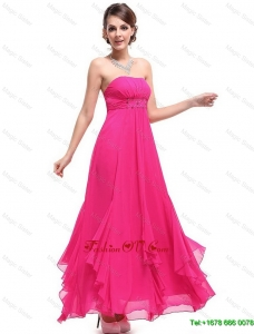 2016 Best Selling Vintage Popular Ankle Length Hot Pink Prom Dresses with Beading