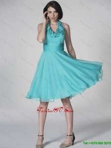 2016 The Super Hot Halter Top Turquoise Prom Dresses with Ruffles and Belt
