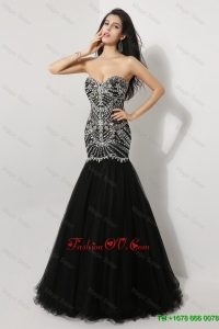 Luxurious Perfect Pretty Vintage Mermaid Sweetheart Beaded Prom Dresses in Black