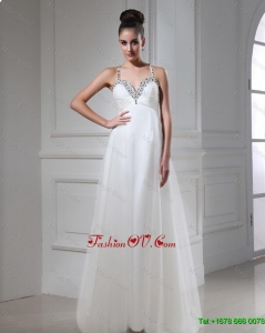 Best Selling Gorgeous Exclusive Vintage Straps Beaded Tulle Prom Dresses in White
