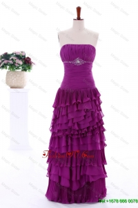 2016 Winter Popular Empire Strapless Beaded Prom Dresses with Ruffled Layers