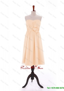 Cheap 2016 Bowknot Peach Short Prom Dresses in Chiffon