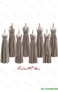 Cheap 2016 Empire Grey Long Prom Dresses with Ruching