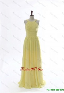 Cheap 2016 Scoop Chiffon Yellow Prom Dresses with Sweep Brain