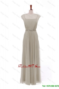 Cheap Bateau Grey Long Prom Dresses with Beading and Sashes
