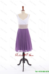 Cheap Empire V Neck Prom Dresses with Ruching in Purple