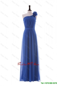 Cheap Hand Made Flower One Shoulder Long Prom Dresses in Blue