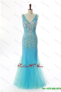 Cheap Mermaid V Neck Backless Beading Long Prom Dresses for 2016