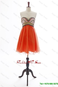 Cheap New Beading Orange Red Short Prom Dress for 2016