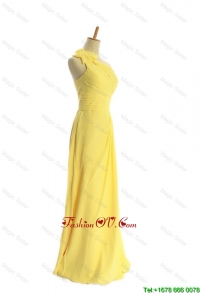 Cheap One Shoulder Long Yellow Prom Dresses with Bowknot