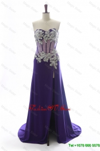 Gorgeous Sweetheart Beading Brush Train Prom Dresses in Purple