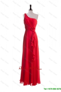 2016 Cheap Hand Made Flowers and Ruffles Red Prom Dresses