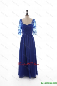 2016 Fall Empire Sweetheart Ruching Prom Dresses with Half Sleeves in Blue