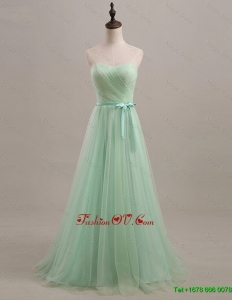 Cheap 2016 Summer Apple Green Prom Dresses with Sweep Train