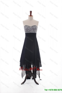 Cheap Empire Strapless Beaded High Low Prom Dresses in Black
