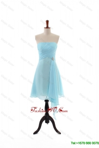 Cheap Empire Strapless Ruching Prom Dresses with Beading for Holiday