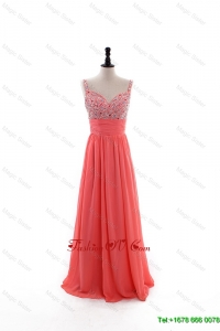 Cheap Empire Straps Beaded Custom Made 2016 Prom Dresses with Beading